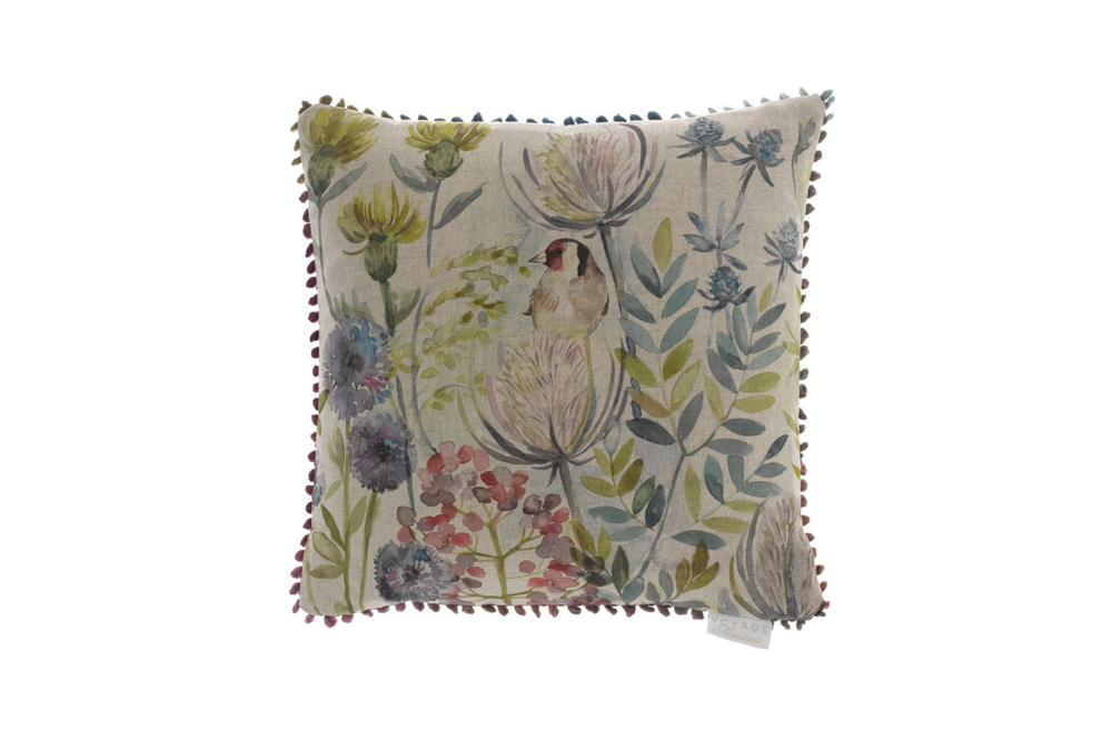 goldfinch cusion, linen birds feather